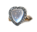 Antique Moonstone & Diamond Heart Ring