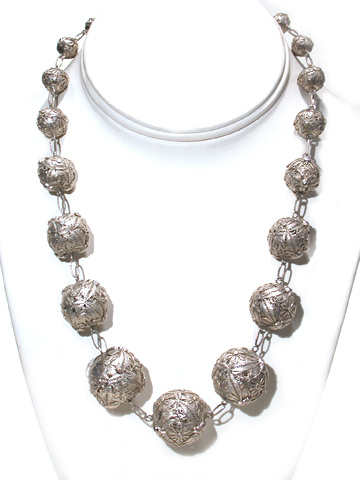 Ornate Silver Filigree Bead Necklace