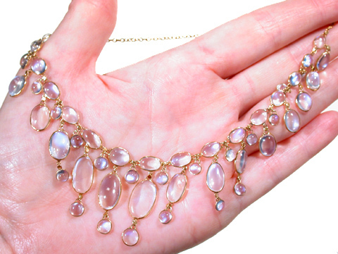 Enchanting Moonstone Festoon Necklace