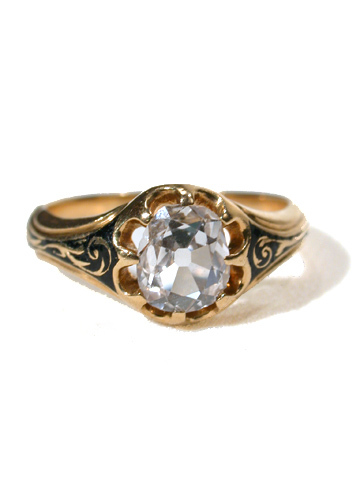 Victorian Black Enamel Solitaire Diamond Ring