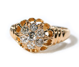 Victorian Diamond Flower Cluster Ring