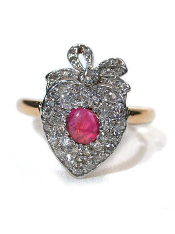 Edwardian Ruby & Diamond Heart Ring