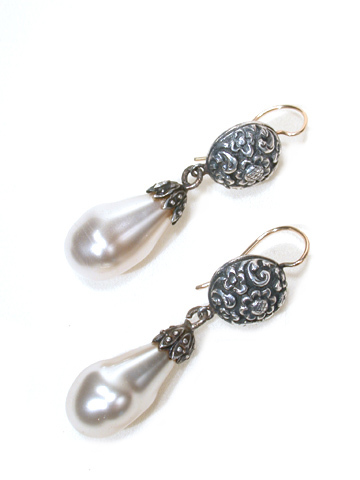Victorian Tears: Scarce Glass Pearl & Silver Earrings
