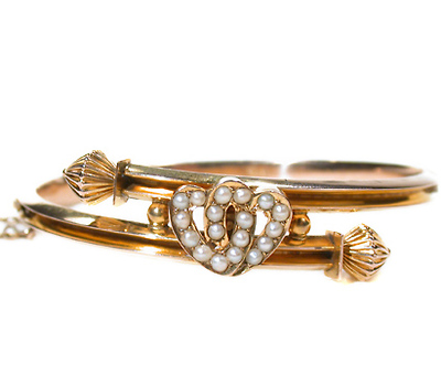 Edwardian Double Hearts Bangle