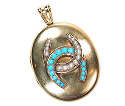 Turquoise Pearl Antique Locket