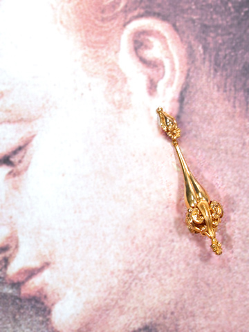 Georgian Gold Day Night Torpedo Earrings