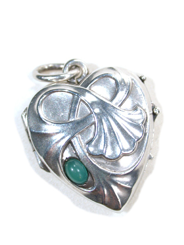 Lily Heart - Art Nouveau Silver Locket