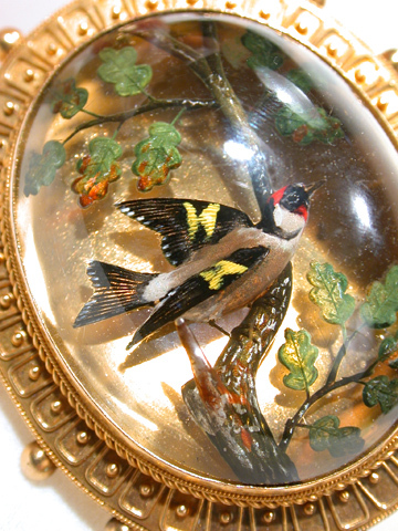 Victorian Etruscan Revival Essex Crystal Bird Pendant
