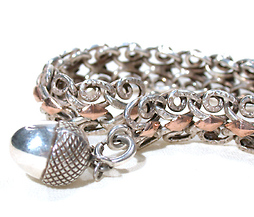 French Antique Silver & Rose Gold Bracelet