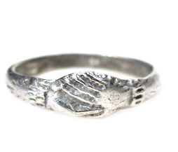 Joined as One - 17th. C. Silver Fede Hand Ring