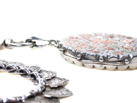 Victorian Silver Locket & Bookchain Necklace