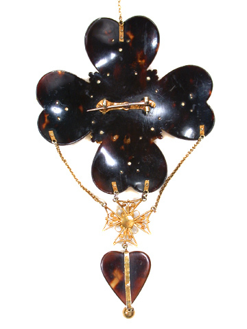 Symbolic Tortoiseshell Cannetille Pendant Brooch