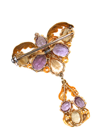 Georgian Citrine & Amethyst Gold Pendant Brooch