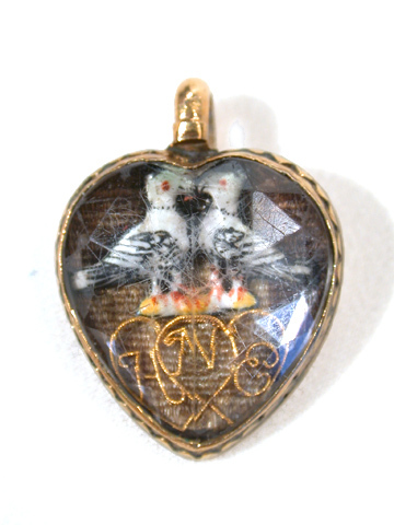 Stuart Crystal Heart Pendant Doves