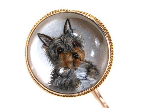 Fine Essex Crystal Yorkie Terrier Dog Stickpin