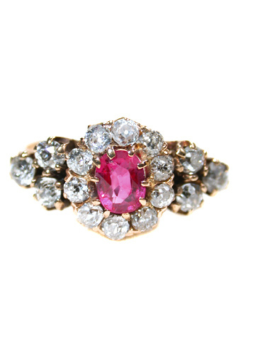 Antique Ruby & Diamond Cluster Ring