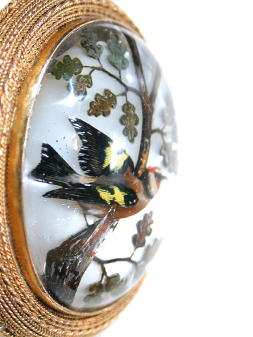 Antique Essex Crystal Bird Brooch Pendant