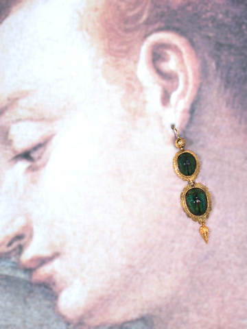 Victorian Scarab Beetle Earrings in Gold