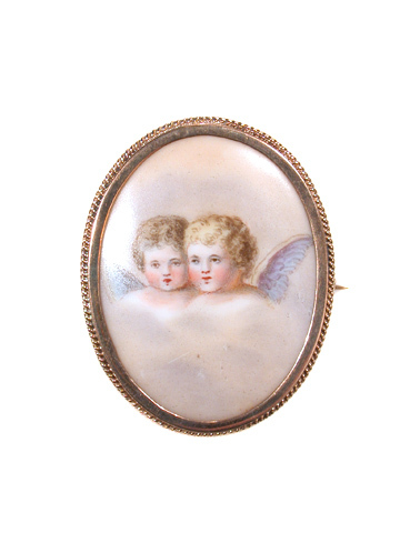 Duet in the Clouds - Porcelain Cherub Brooch