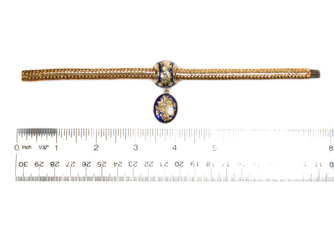 Royal Blue Sentiment: Antique Enamel Gold Bracelet