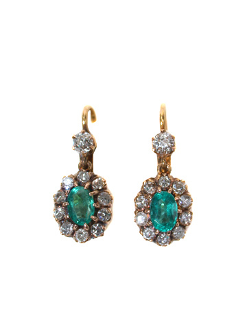 Art Deco Emerald Diamond Earrings