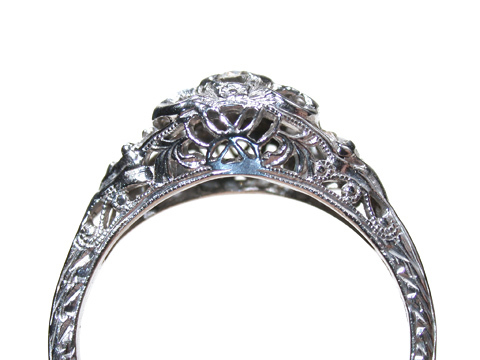 Filigree Art Deco Diamond Ring