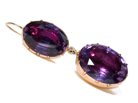 Magnificent Georgian  Amethyst Earrings