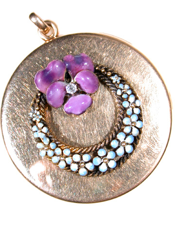 Antique  Pansy & Forget Me Not Locket