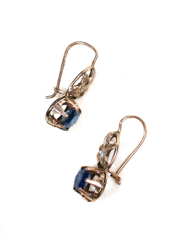 Edwardian Rose Gold Diamond & Sapphire Earrings