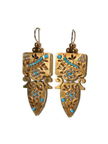 Archaeological Revival Turquoise & Pearl Earrings