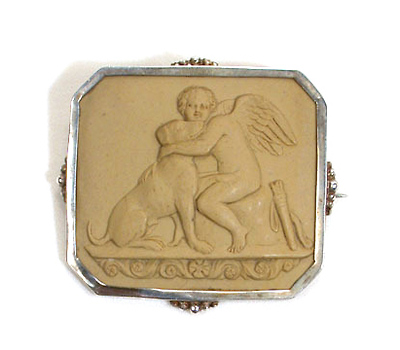 Victorian Lava Antique Cameo - Cherub & Dog