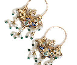 Italian Gold, Enamel & Pearl Earrings