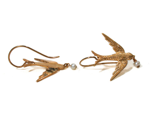 Returning: Antique Swallow Bird Earrings