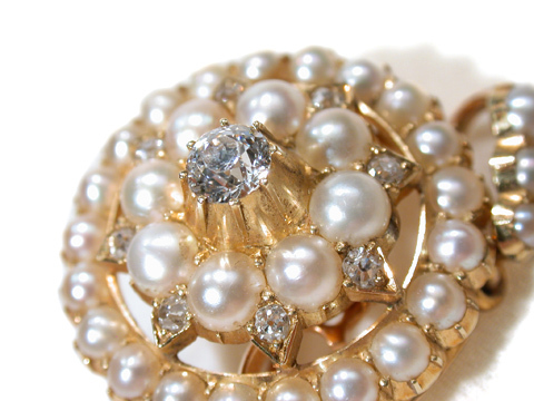 Diamonds & Pearls in an Antique Brooch Pendant
