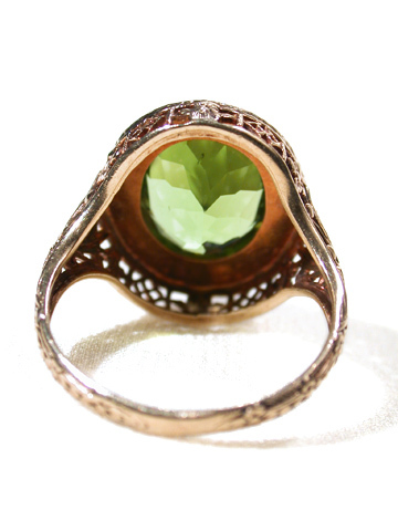 Golden Trellis: 20th C. Peridot Ring