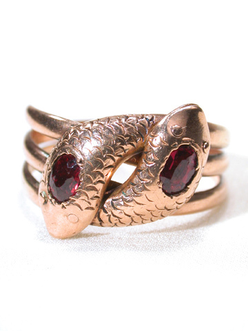 Edwardian Double Head Snake Ring