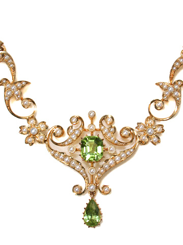 Sensuous Art Nouveau Peridot & Pearl Necklace