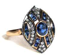 Marquise Shaped Sapphire Diamond Ring