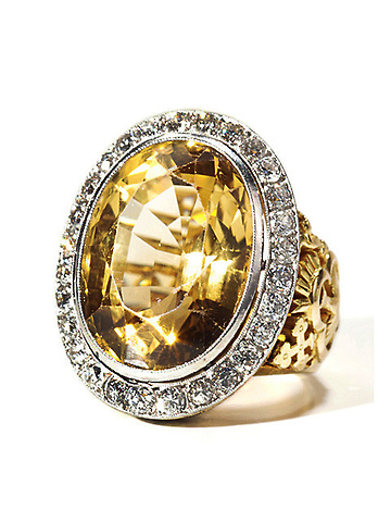 Very Scarce Citrine Diamond Bishop's Ring