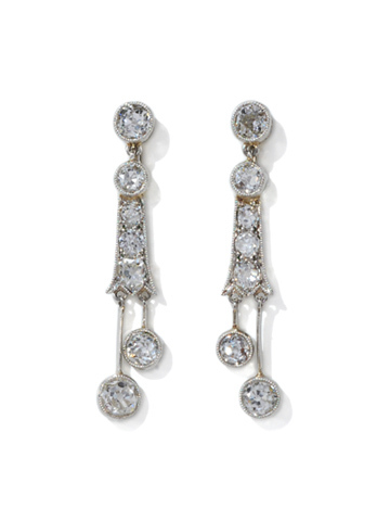 Edwardian Platinum & Diamond Drop Earrings