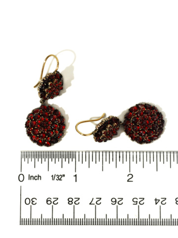 Victorian Bohemian Garnet  Cluster Earrings