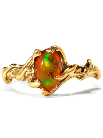 Modernist Mexican Fire Opal Ring