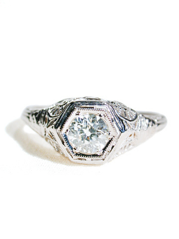 Seashells & Petals - Antique Diamond Ring