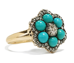 Edwardian Diamond Turquoise Cluster Ring
