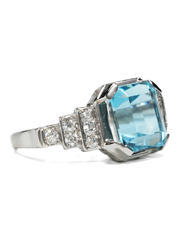 20th C. Aquamarine & Diamond Platinum Ring