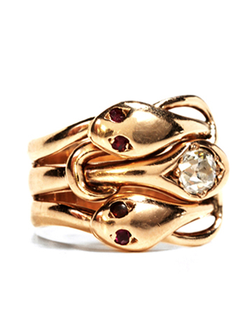 Hypnotic Ruby Eyes: Treble Snake Ring