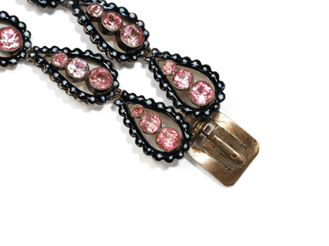 Antique French Pink Paste & Enamel Bracelet