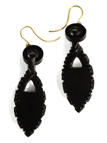 Flowering Victorian Whitby Jet Earrings