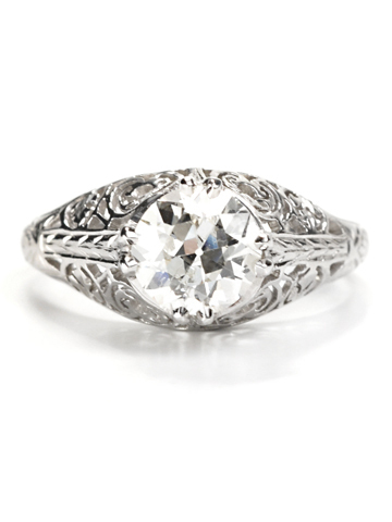 Solitaire Diamond Platinum Ring 1.14 c