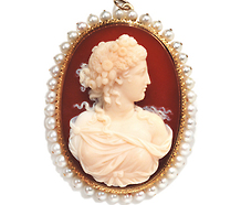 Hardstone Agate Cameo Pendant Brooch